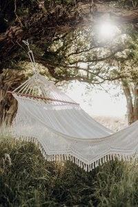 Anthropologie Palacio Fringed Hammock ~ cream cotton hand-woven macrame trim hammocks ~ garden seating