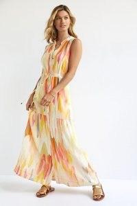 Maeve Deco Maxi Shirtdress ~ sleeveless tiered drawstring waist shirt dresses