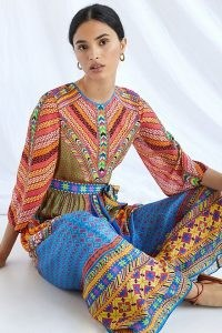 Tanvi Kedia Abstract Puff-Sleeved Maxi Dress ~ vibrant mixed print tie waist summer dresses