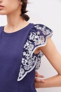 ANTHROPOLOGIE Rae Ruffled Eyelet Top ~ blue ruffled flutter sleeve tops