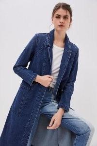 ANTHROPOLOGIE Peggy Denim Duster Jacket ~ blue longline open front jackets