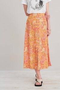Kachel Paisley Midi Skirt Orange