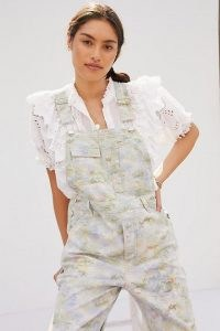 Pilcro Tie-Dye Relaxed Overalls / marbled denim dungarees
