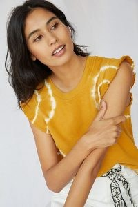 T.La Ruffled Pullover Tank Gold / dyed round neck ruffle shoulder tee