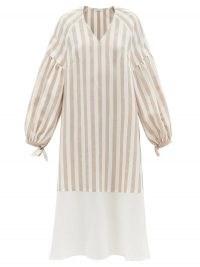 VIKA 2.0 Balloon-sleeve striped Tencel-blend midi dress | relaxed drop shoulder dresses