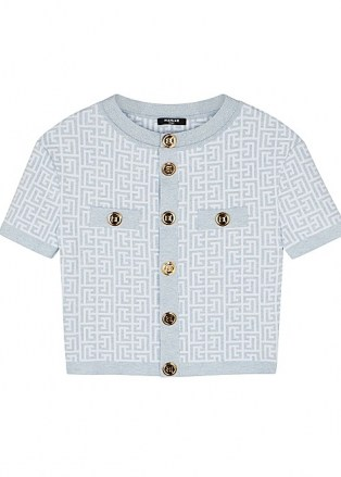 BALMAIN Monogrammed metallic-weave cardigan | short sleeved ladylike cardigans - flipped