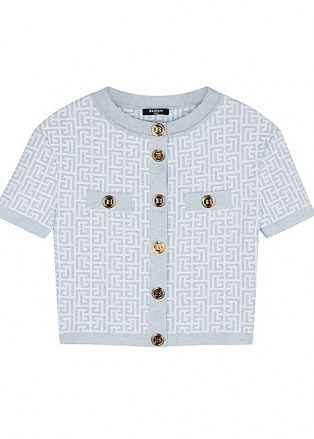 BALMAIN Monogrammed metallic-weave cardigan | short sleeved ladylike cardigans