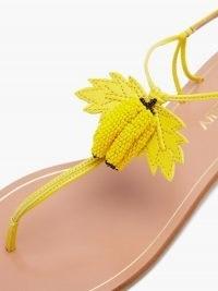 AQUAZZURA Bananita beaded leather sandals / yellow banana embellished skinny strap flats / fruit on summer footwear