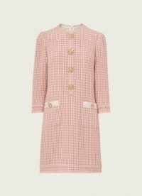 L.K. BENNETT BEAU PINK CREAM TWEED DRESS ~ textured vintage style shift dresses