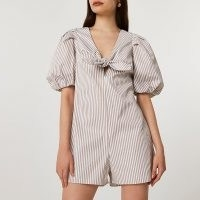 River Island Beige stripe bow playsuit   puff sleeve playsuits