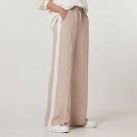 RIVER ISLAND Beige stripe wide leg trousers ~ sporty drawstring waist pants