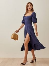 Reformation Belgium Linen Dress | blue dresses with thigh high slit and puff sleeves