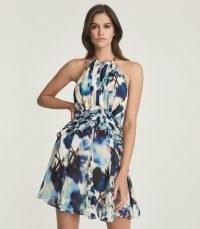 REISS BELLE PRINTED RUFFLE MINI DRESS BLUE ~ chiffon racerback dresses