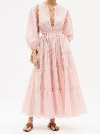 FIL DE VIE Bellona pink belted tiered maxi dress   voluminous summer dresses