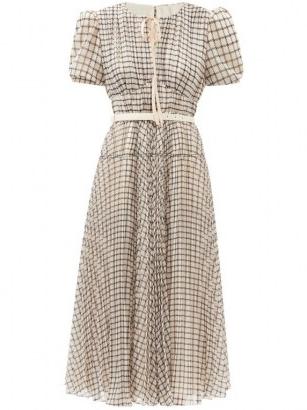 SELF-PORTRAIT Belted checked chiffon midi dress