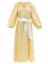 VIKA 2.0 Belted striped Tencel-blend midi dress | yellow and white stripe balloon sleeve dresses