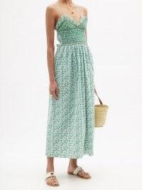 LORETTA CAPONI Bianca smocked floral-print cotton-poplin dress in green / strappy shirred bodice sundress
