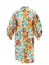 LA DOUBLEJ Big floral-print cotton-poplin shirt dress   oversized curved hem balloon sleeve dresses