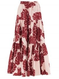 LA DOUBLEJ Big tiered Monstera-print cotton-poplin skirt | pink and red leaf print summer maxi skirts