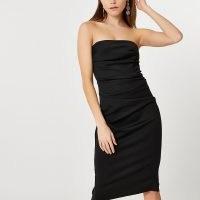 RIVER ISLAND Black bandeau bodycon midi dress ~ strapless LBD