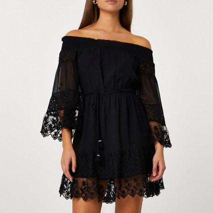 RIVER ISLAND Black bardot lace dress ~ semi sheer off the shoulder dresses - flipped