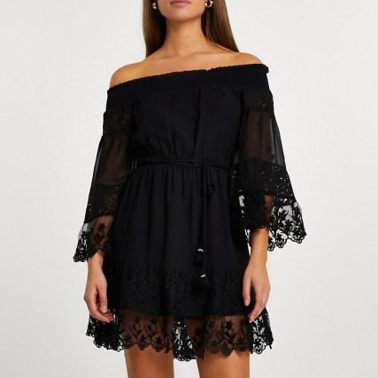 RIVER ISLAND Black bardot lace dress ~ semi sheer off the shoulder dresses