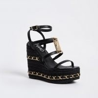 RIVER ISLAND Black chain detail wedges / chunky multi strap wedge heels / logo branded wedged sandals