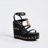 RIVER ISLAND Black chain detail wedges / chunky multi strap wedge heels / logo branded wedged sandals