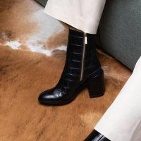DEAR FRANCES SPIRIT BOOT ~ black leather croc embossed chunky heel boots