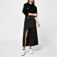 River Island Black double split midi skirt | thigh high slit skirts