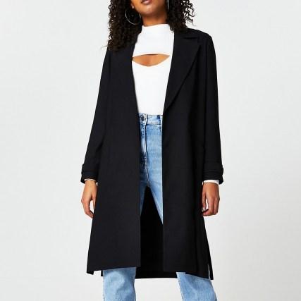RIVER ISLAND Black long sleeve satin duster | open front side slit coat - flipped