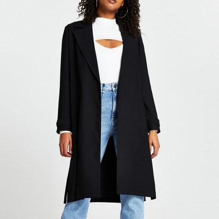 RIVER ISLAND Black long sleeve satin duster | open front side slit coat