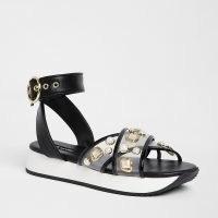 River Island Black pearl sports sandals | embellished ankle strap flats