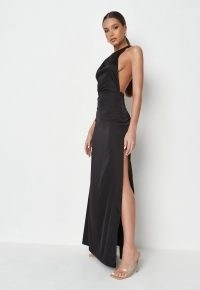 Missguided black satin halterneck strappy back maxi dress | thigh high slit hem dresses