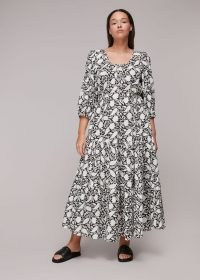 Whistles FLORAL PRINT TRAPEZE DRESS – voluminous relaxed style dresses