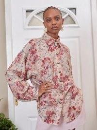 SISTER JANE DREAM Flourish Sequin Oversized Shirt Beige / shimmering sequinned curved hem shirts