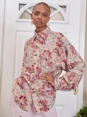 SISTER JANE DREAM Flourish Sequin Oversized Shirt Beige / shimmering sequinned curved hem shirts - flipped