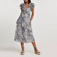 RIVER ISLAND Blue back cut out paisley print dress / romantic ruffle trim summer dresses