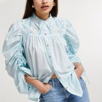 RIVER ISLAND Blue floral embroidered ruched blouse top / voluminous collared blouses