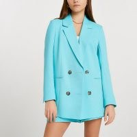 RIVER ISLAND Blue long sleeve blazer ~ women's double breasted summer jackets