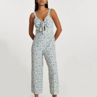 RIVER ISLAND Blue sleeveless floral front tie jumpsuit / crop leg summer jumpsuits