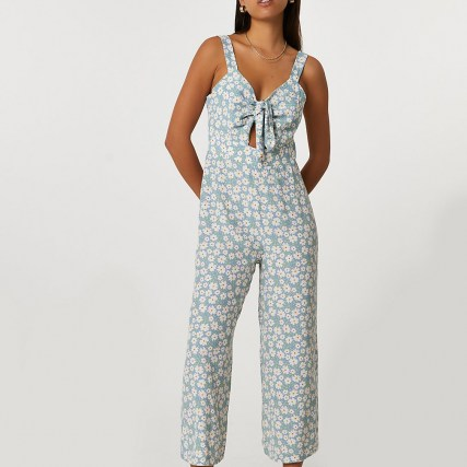 RIVER ISLAND Blue sleeveless floral front tie jumpsuit / crop leg summer jumpsuits - flipped