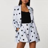RIVER ISLAND Blue spot longline boucle blazer ~ women's polka dot print open front blazers