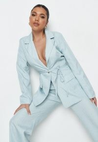 MISSGUIDED blue stripe linen look tie tailored blazer ~ women's tie waist summer blazers