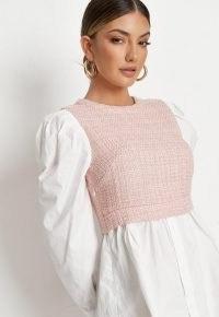 MISSGUIDED blush boucle insert shirt dress ~ part textured dresses