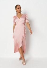 Missguided blush satin puff sleeve high low midi dress   vintage style wrap dresses