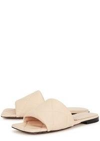 BOTTEGA VENETA The Rubber Lido blush leather sliders / luxe quilted slides