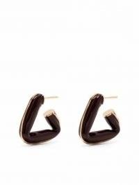 Bottega Veneta brown triangle hoop earrings