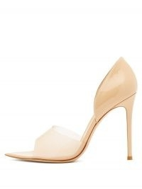 GIANVITO ROSSI Bree 105 PVC and patent-leather pumps in beige | stiletto heel opaque strap pointed toe courts | perfect party court shoes