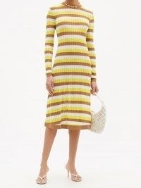DODO BAR OR Brenda striped pointelle-knit midi dress | yellow, brown and white 70s style striped knitted dresses | retro fashion